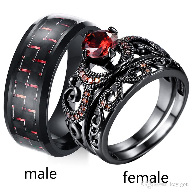 2019 Sz5 12 Two Rings Couple Ring His Hers Black Gold Ruby Women S