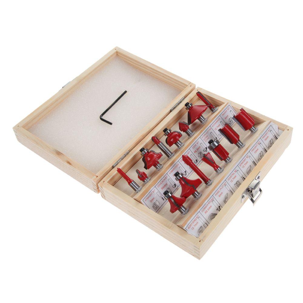 1/4 Professional Shank Tungsten Carbide Router Bit Set Wood Case tool kit Milling Cutter Router bit set 6.35mm