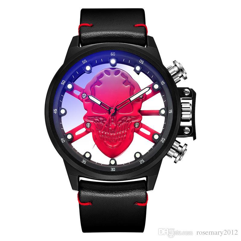 fd6fdbfd691a Compre Reloj De Calavera Para Mujeres Hombres Relojes De Pulsera De Cuarzo  Luminous Hollow Relojes De Moda De Cuero De La PU Reloj De Pulsera Horas  Reloj ...