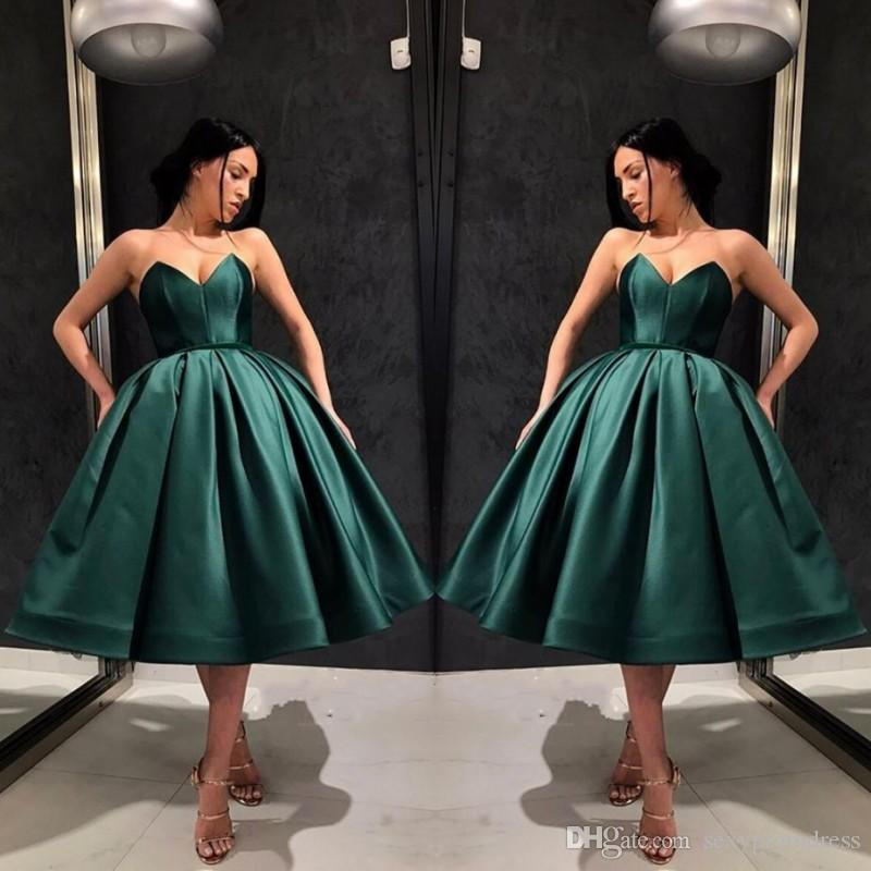 5fb8d73221 Dark Hunter Green Prom Dresses Sexy Sweetheart Satin Ruffles Short Evening  Gowns Tea Length Cocktail Party Dress For Women Cheap Panoply Prom Dresses  ...