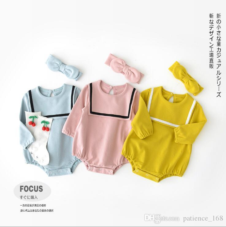 Cotton Romper 2018 Hot Selling INS Autumn Kids Pure Color High ... 00db8e6c6