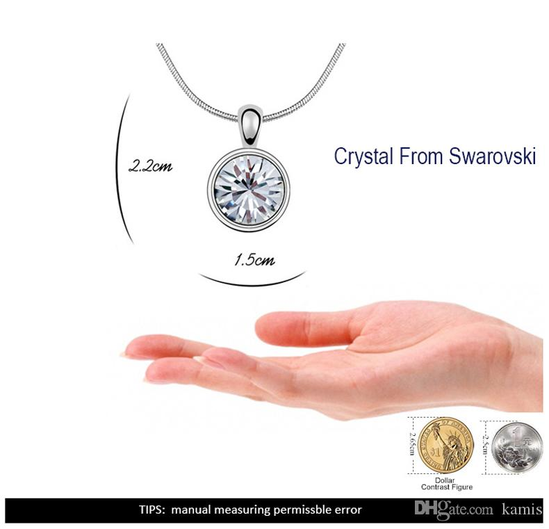 Famous Brand Round Crystal From Swarovski Statement Element New Fashion Necklace For Women Gold Color Wedding Jewelry Accessories Girl Gift