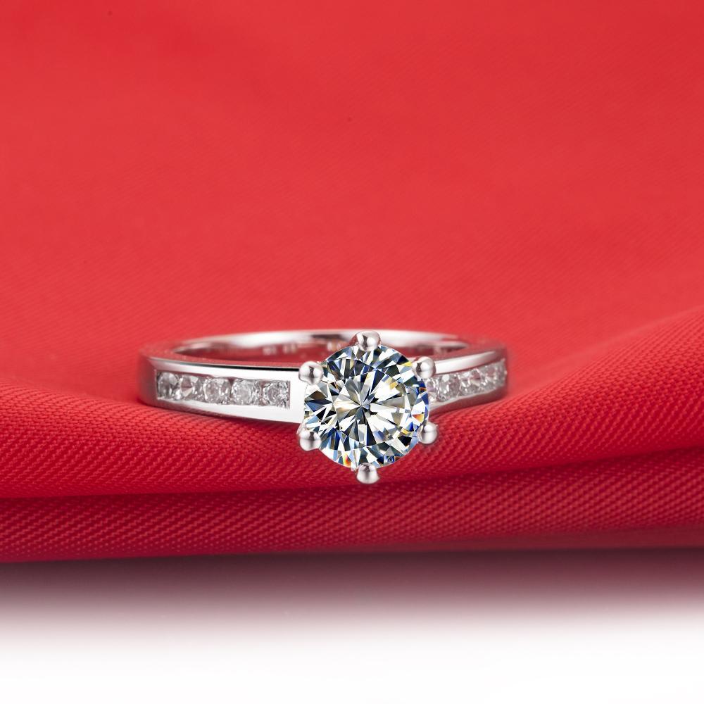 Drop Shipping 0,6 ct Hochzeitsband massiv Silber Weißgold Ringe SONA synthetische Diamantringe für die Braut verblassen
