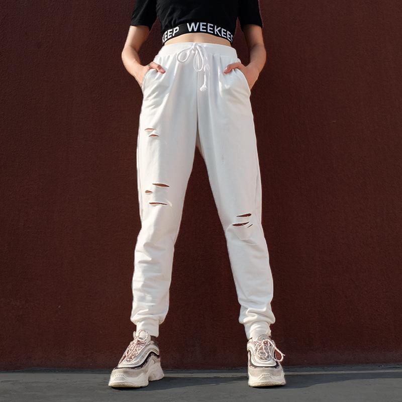 Acheter Trous Femmes Taille Haute Pantalon Droit Crayon Pantalon Blanc Slim  Cordon Femme Pantalon Stretch Creux Femelle Pantalon De $22.92 Du Vanled ...