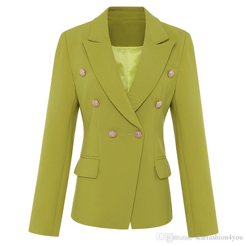 Neu mit Label Marke B Top-Qualität Original Design Damen Zweireiher Slim Jacket Metallschnallen Blazer Anzugkragen Short Outwear
