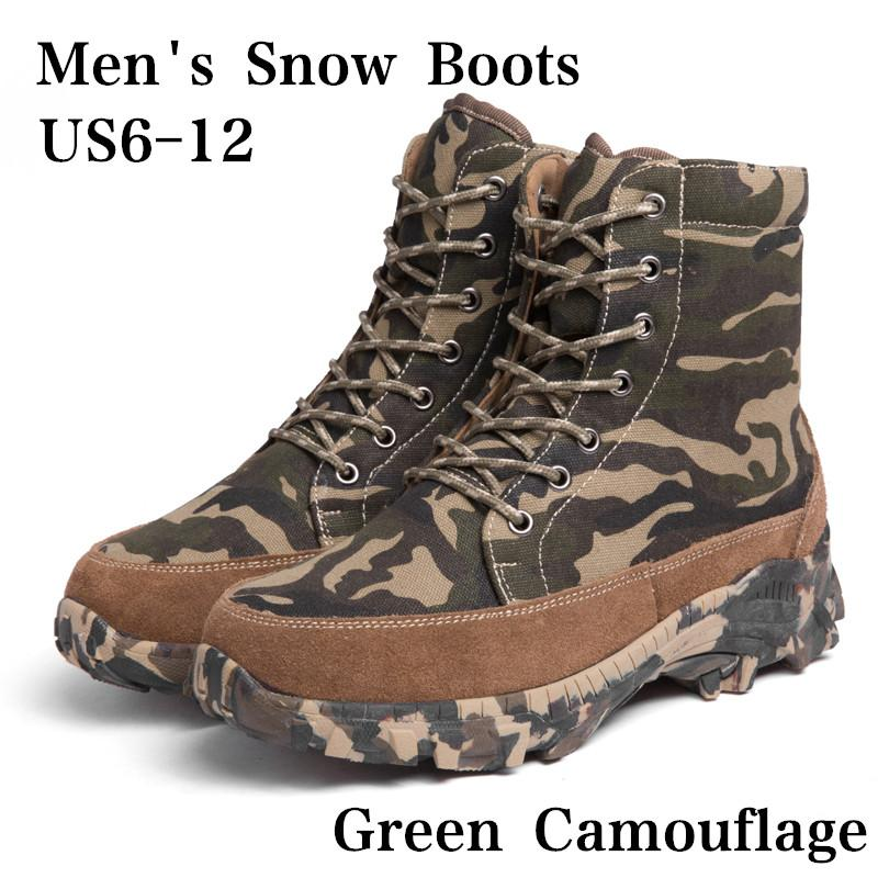 9d78352be51 Men's Camo Hunting Boots High-top Woollen Lined Outdoor Tactical Boot  Breathable Fishing Climbing Desert Combat Boots for Hiking Trekking