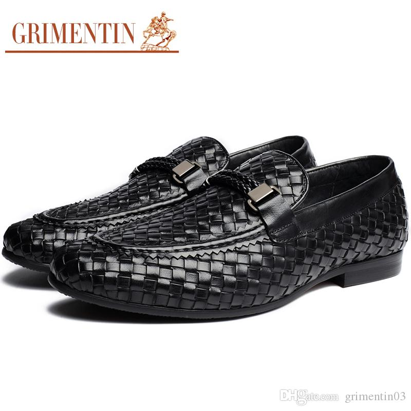 3bbe80d742 GRIMENTIN Hot Sale Men Loafers Italian Fashion Dress Mens Formal Shoes  Genuine Leather Braided Comfortable Brown Black Business Men Shoes Cute  Shoes Green ...