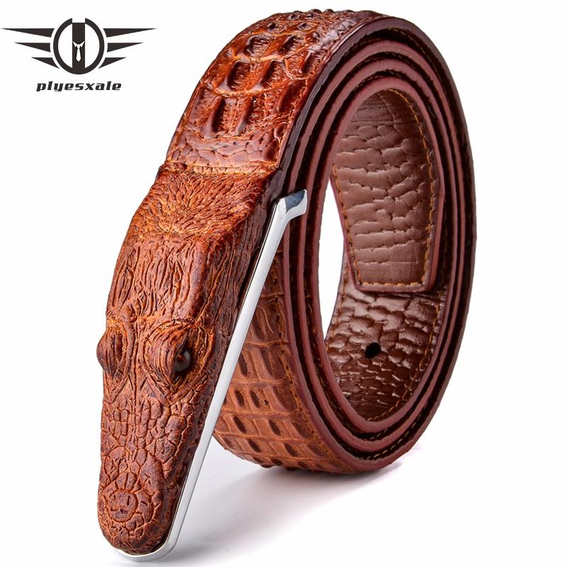 Plyesxale Brand Mens Belts Luxury Leather Designer Belt Men High Quality Ceinture Homme Crocodile Cinturones Hombre 2018 B2 D18102905