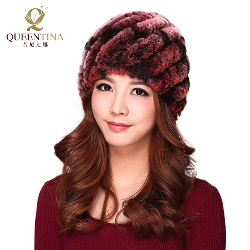 Luxury Autumn Winter Women Genuine Real Knitted Rex Rabbit Fur Hats  Handmade Lady Warm Caps Female Real Fur Beanies Headgear Beanies For Girls  Baby Hat From ... 39e441b62a6