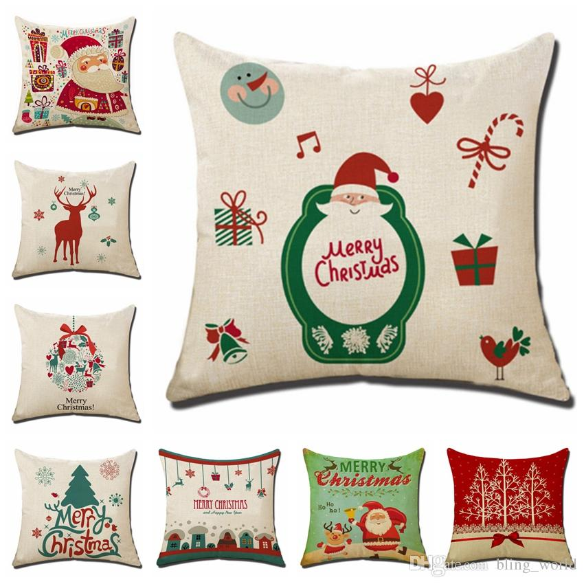 christmas cushion cover linen decorative pillows covers xmas throw pillow case christmas decorations new year home decor 8 designs yw1764 standard pillow