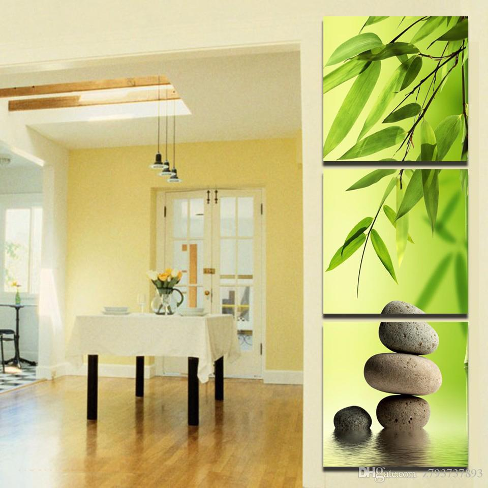 2018 Hd Printed Modern Painting On Canvas 3 Panel Bamboo Stone ...