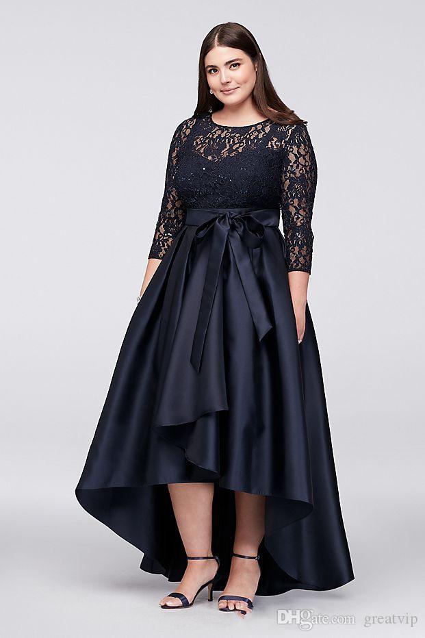 Negro Tallas grandes Madre de la novia Vestidos Alto bajo 3/4 Manga larga Vestido de invitados Invitación Cuello de joya Vestidos de noche de encaje