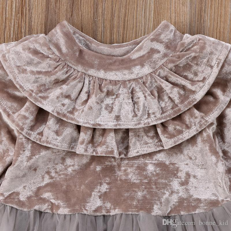 Kid Girls Princess Velvet Dress Long Sleeve Ruffle Solid Lace Tulle Tutu Dresses Champagne Claret Spring Fall Winter Boutique 1-6Y