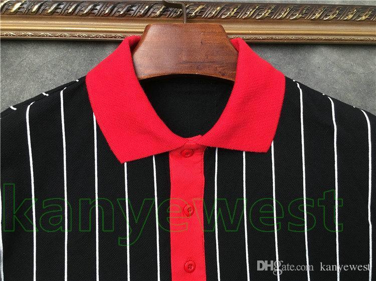 2019 yeni erkekler Şerit T-shirt Kollu pentagram yıldız baskı POLO T Gömlek erkek kısa kollu Pamuk Casual Tasarımcı t gömlek tee