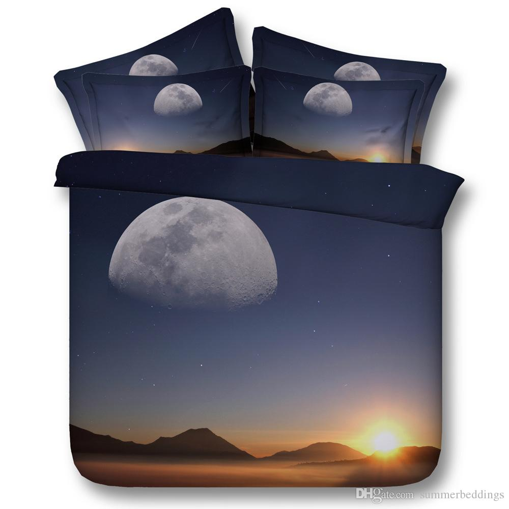 3D scenery bedding sets moon duvet cover bedspreads comforter cover Bed Linen Quilt Covers galaxy stars bed cover for adults 3pc