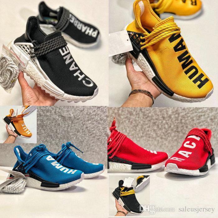 615c9456721df 2018 Human Race Factory Real Boost Yellow Red Green Black Orange Men Women  Kids Pharrell Williams X Human Race Big Boy Youths Running Shoes Girls  White ...