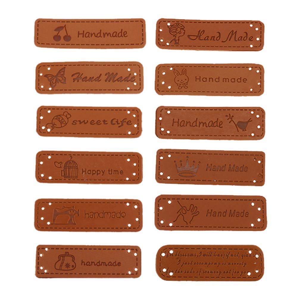 12st Englisch Hand Made Etiketten für Kleidung PU-Leder-Anhänger Handmade Labels DIY Jeans Taschen Schuhe Zu