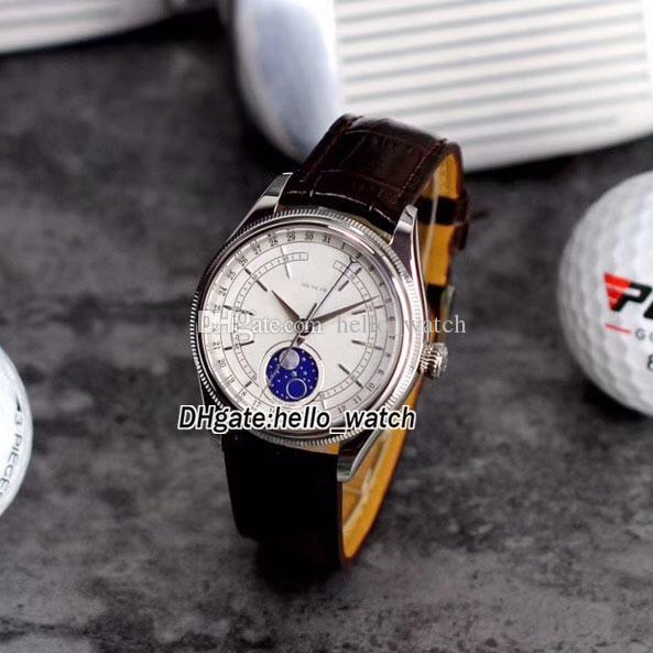 Barato Novo 39mm Cellini Moonphase 50535 M50535 Mostrador Branco Automático Mens Watch Rose Caixa De Ouro Pulseira De Couro De Safira Gents Relógios