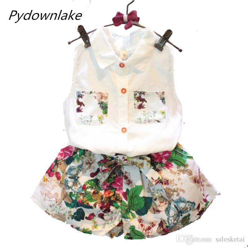 2018 New Fashion Summer Children Girl Set Kids Clothes Flowers Chiffon Halter Tops + Bows shorts Baby Girls Sets Suits