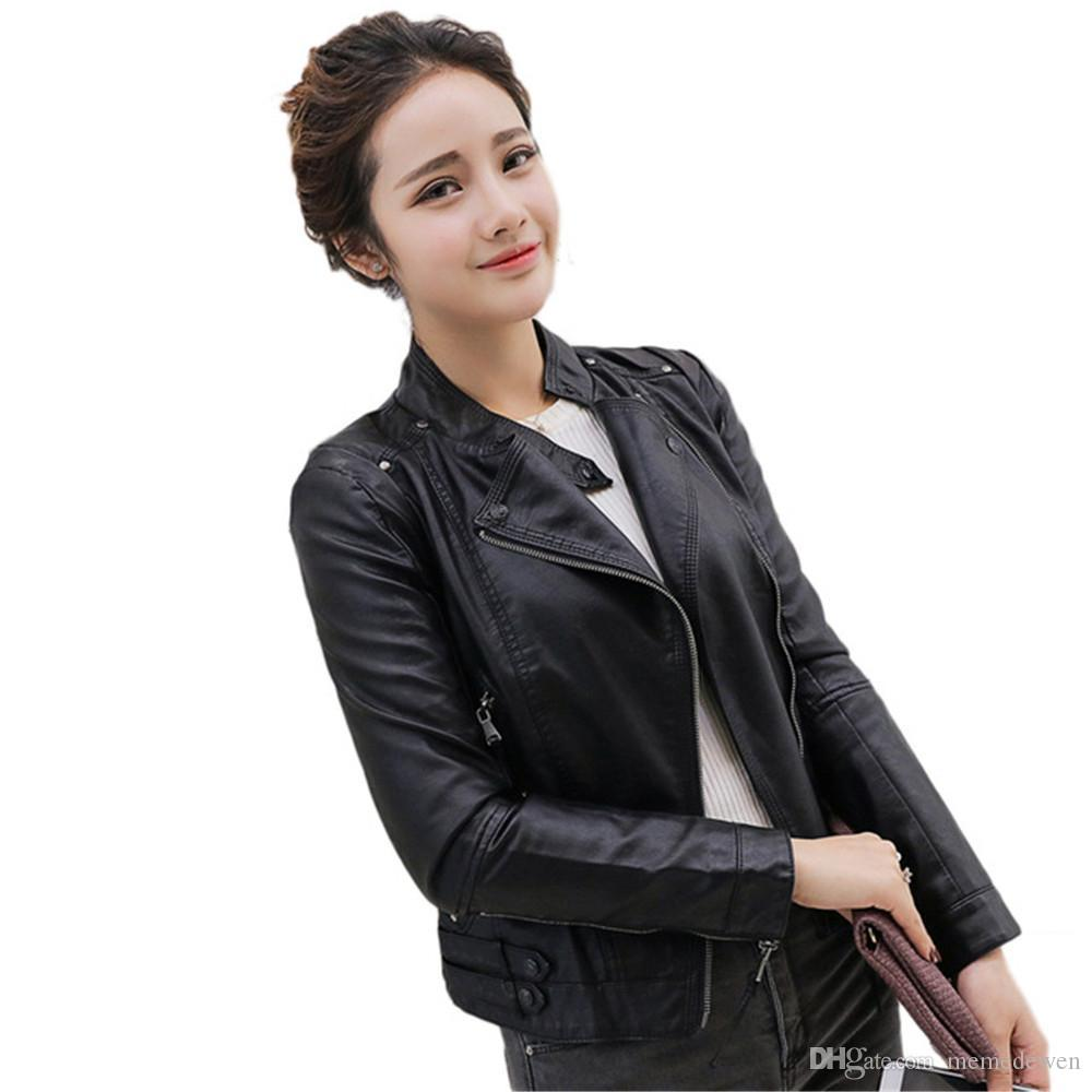 7c038f6998 Autumn Winter Women Faux Soft Leather Jackets PU O Neck Black Blazer  Zippers Coat Motorcycle Outerwear NG-048