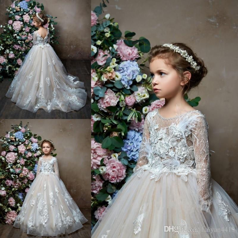 8e37fe39c Pentelei 2019 Long Sleeves Flower Girl Dresses For Weddings Feather Luxury  Lace V Back Jewel Tulle Little Kids Baby Gowns Custom Communion Casual  Flower ...