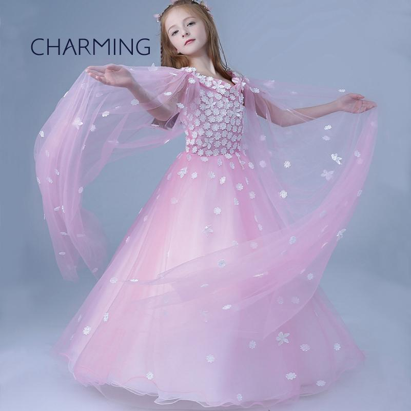 c1bf9628d Long Dresses For Kids Fit Princess Dress Flower Girl Dresses Piano  Performance Show Skirt V Neck Style Beautiful Dresses For Girls Girls Clo  Little Girl ...