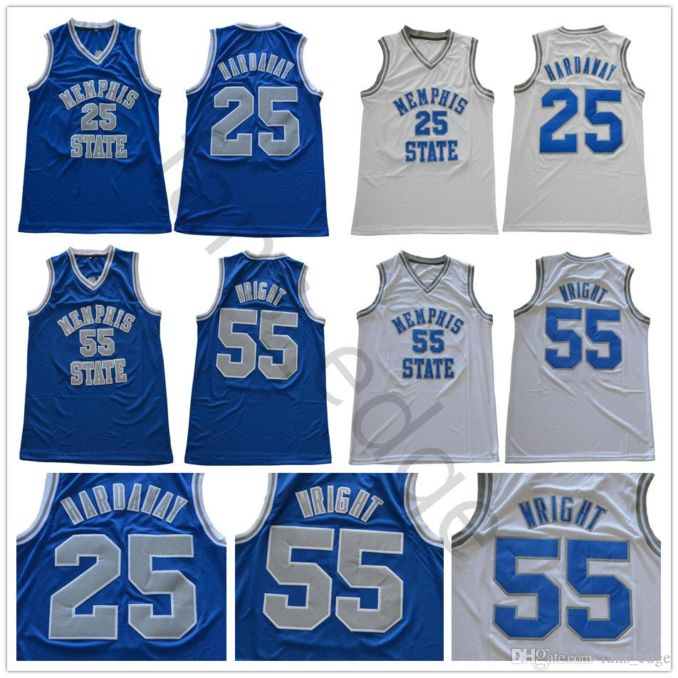 big sale 434b9 c4e41 NCAA Memphis Tigers College #25 Penny Hardaway Jersey Home Away Blue White  Stitched 55 Lorenzen Wright University Basketball Jerseys