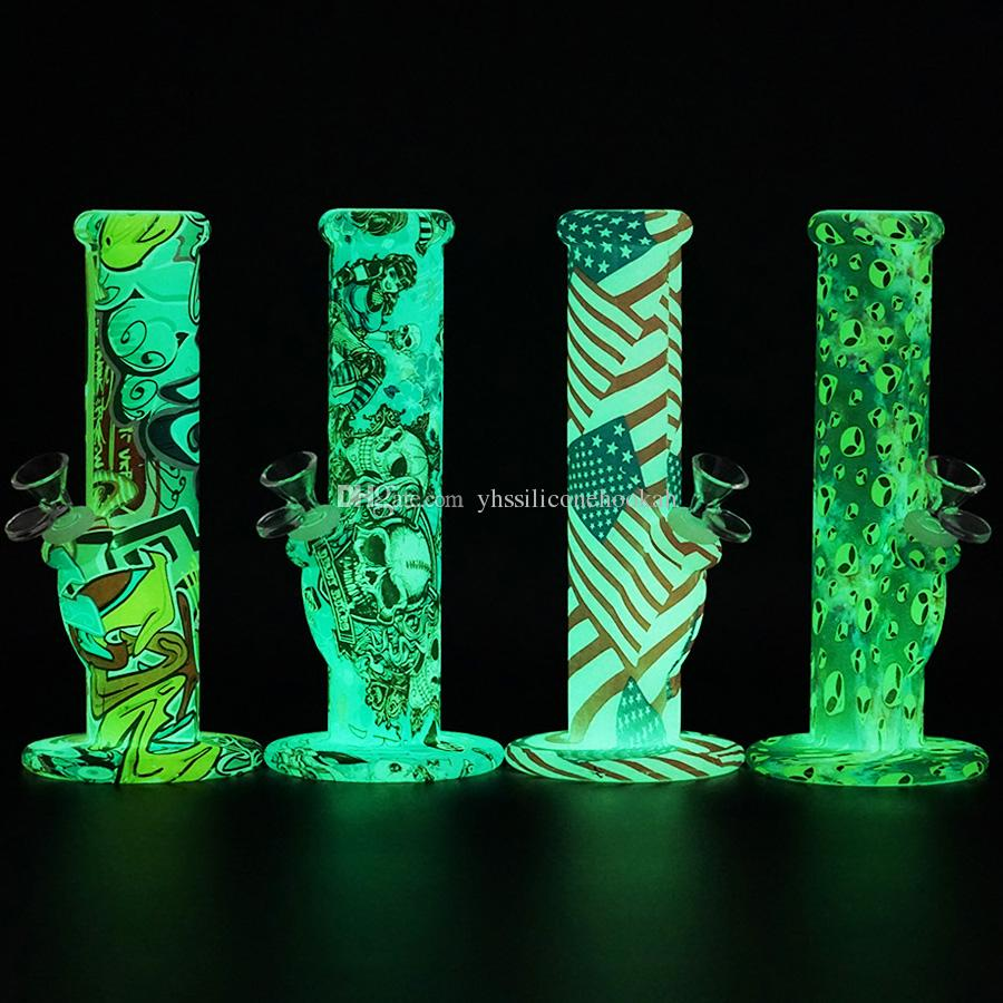 Glow in the dark silicone straight bong 10''oil rig Limited Edition Bongs Shisha Hookah Silicone Smoking Water Pipes Bongs Free Shipping