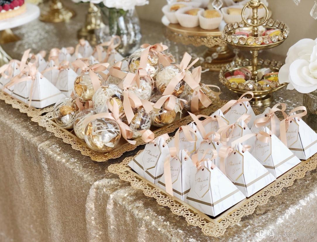 New Creative Triangular Pyramid Marble style Candy Box Wedding Favors Party Supplies thanks Gift Chocolate Box