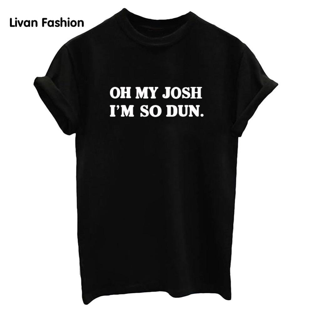 Camiseta Corta Imprimir Casual Mujer Black Hc White So Tops Tt3033 Oh Letters De Floja Josh Algodón Moda I'm Manga My Dun mw0NOv8n