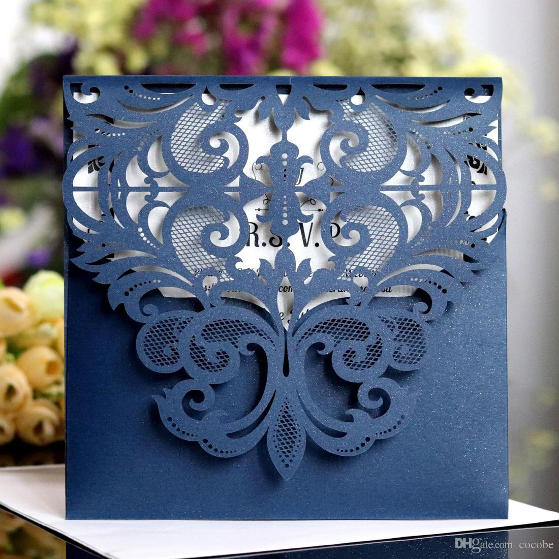 Navy Blue Laser Cut Wedding Invitations With Hollow Flower