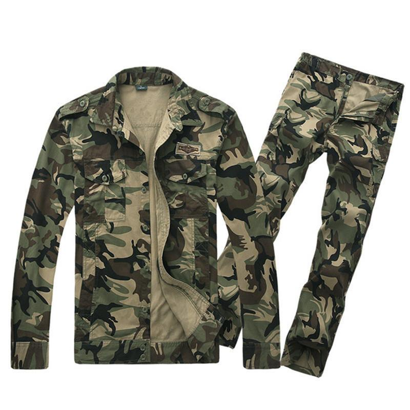 61b620265dae8 2019 New Spring Autumn Hunting Jacket Pants Men Cotton Windproof Breathable  Camouflage Sets Outdoor Tactical Hiking Camping Clothes From Masn, ...