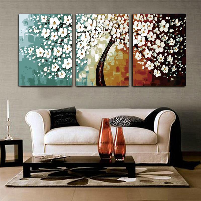 Dibujos Para Colorear Por Números Cuadros De Flores Tríptico Para Pared De La Sala De Estar 40x50x3 Conjunto Decoración Para El Hogar Pintura Al