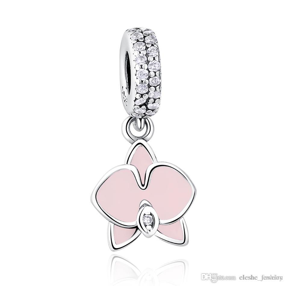 75044b70d ELESHE Enamel Orchid Dangle Charm 925 Sterling Silver Charms Loose ...