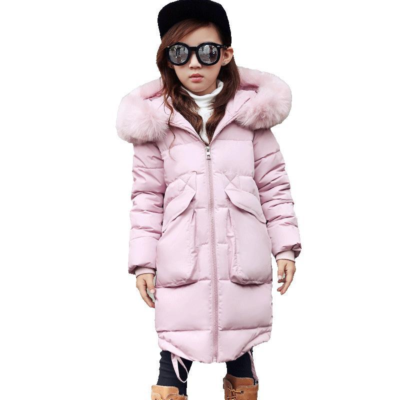 2018 New Girls Long Padded Jacket Niños Abrigo de invierno Niños Warm Thickening Abrigos con capucha para adolescentes Outwear