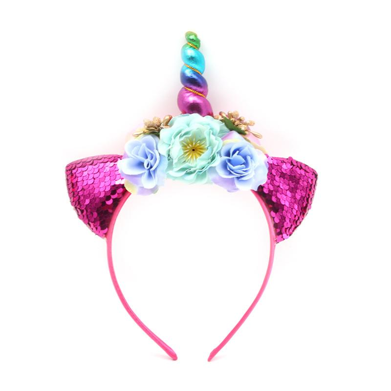 Glitter Colorful Unicorn Headband For Girls And Kids DIY Unicorn ... e14b32ad5c9
