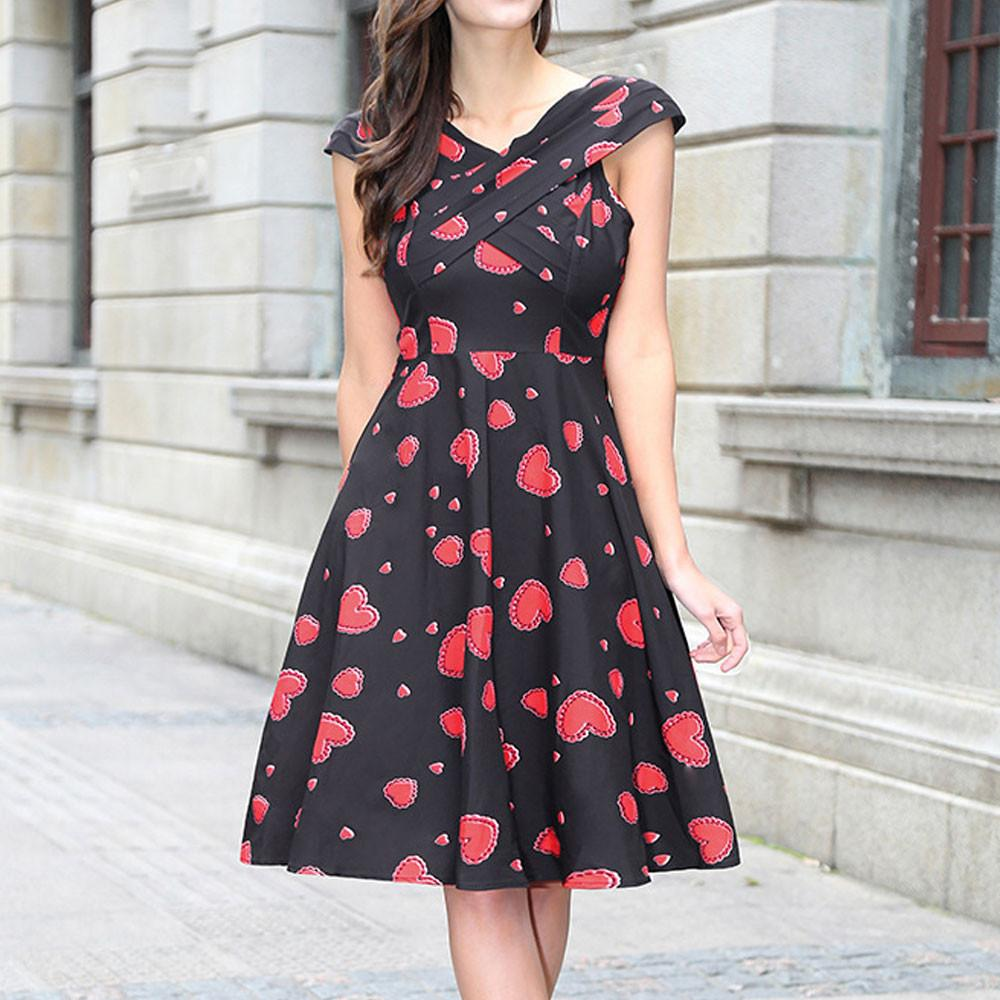 f12d84978d2 2019 Hepburn Wind Vintage Dress Female Heart Shape Print Sleeveless Big  Dress Print Party Evening Prom Swing From Clothfirst
