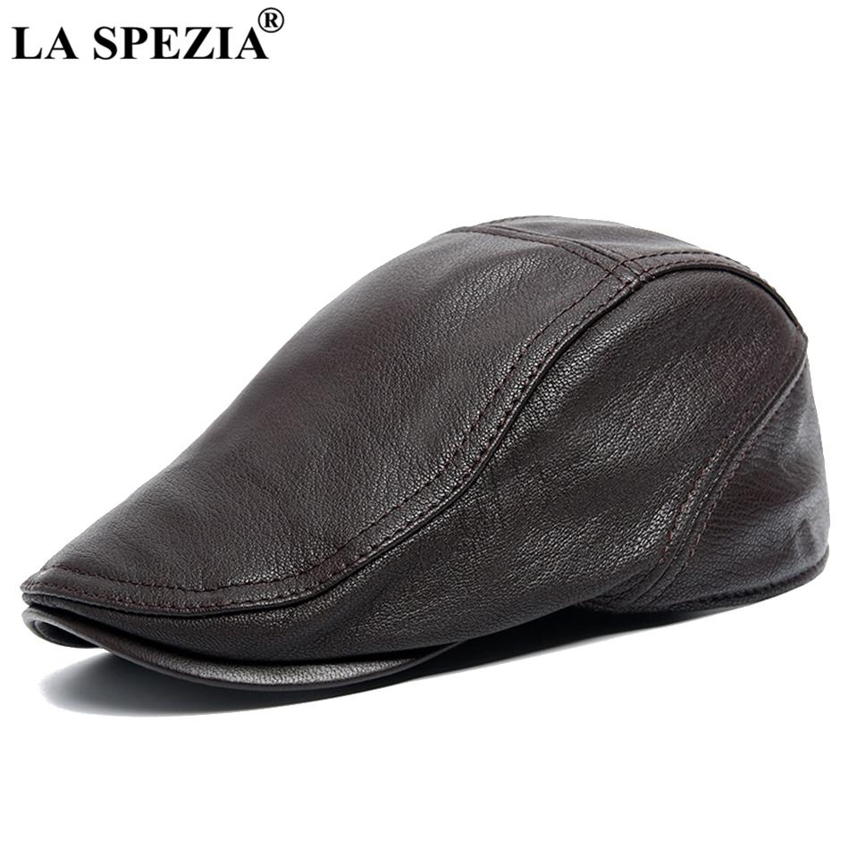 2019 LA SPEZIA Berets For Men Leather Flat Cap Adjustable Coffee Duckbill  Ivy Hat Male Vintage Autumn Real Leather Directors Cap 2018 From Duweiha 0c034bdbdc8