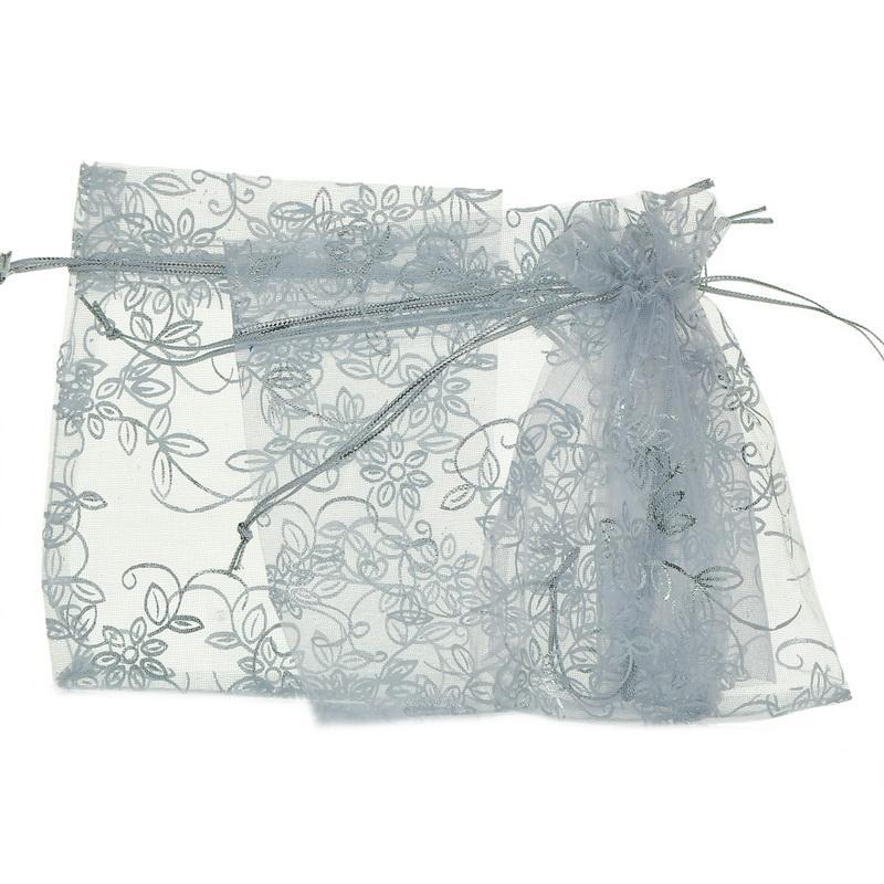 De Mode Blanc Feuille Fleur Organza Pochettes Cadeaux Bijoux Sacs Faveur De Mariage Cadeaux Paquet De Stockage Organisateur 10cmx12cm