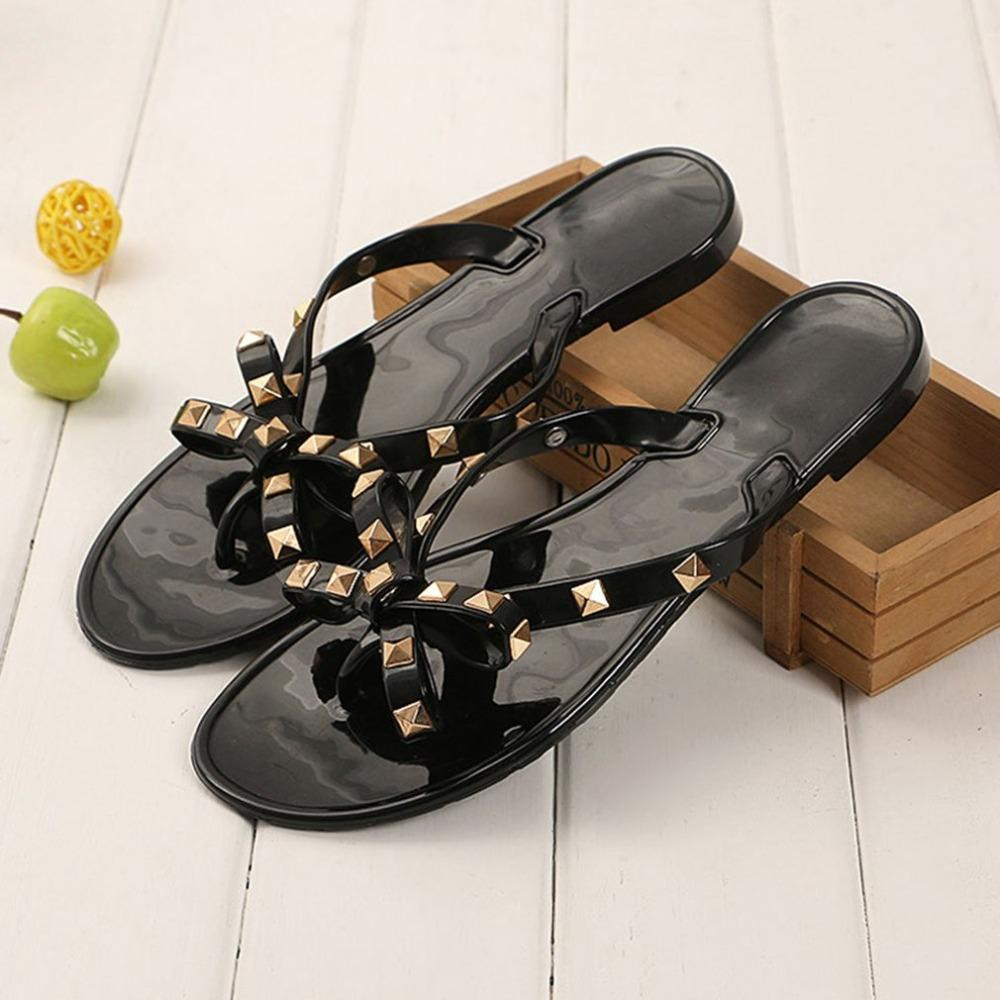 89d8f1256 Stylish Women Sandals Rivets Bowknot Flat Slippers Girls Flip Flops Elegant  Summer Shoes Cool Beach Jelly Shoes Mens Slippers Boots For Women From ...