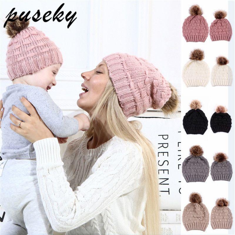 Compre Puseky Nueva Mamá Y Bebé Invierno Sombrero Niños Cálido ...