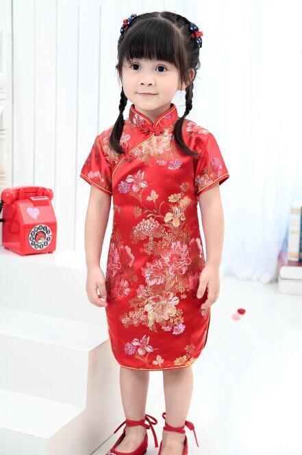 5720468ab858 2018 Cute Girls' summer Dresses Kid Chinese chi-pao cheongsam New Year gift  Party Children's Clothes Robe Baby Qipao