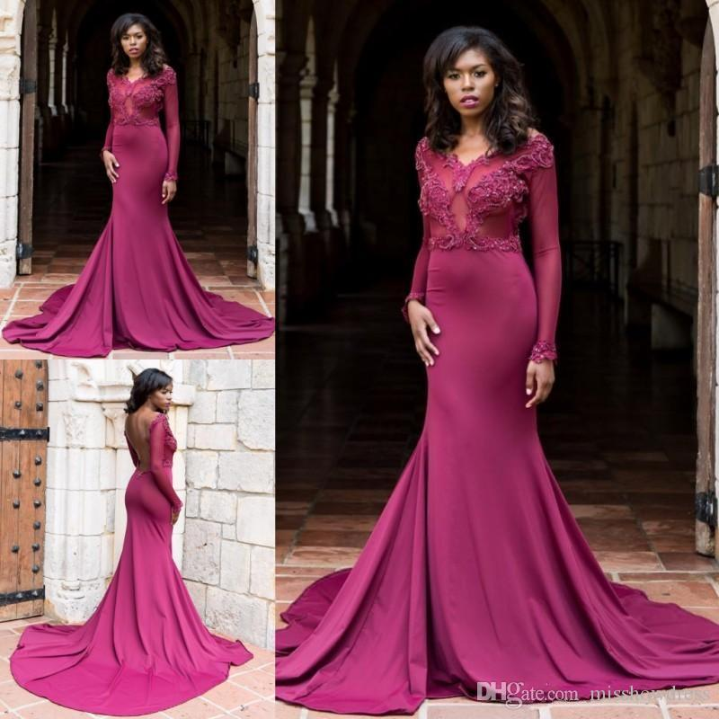 2018 New Sexy African V Neck Mermaid Prom Dresses Open Back Illusion ...