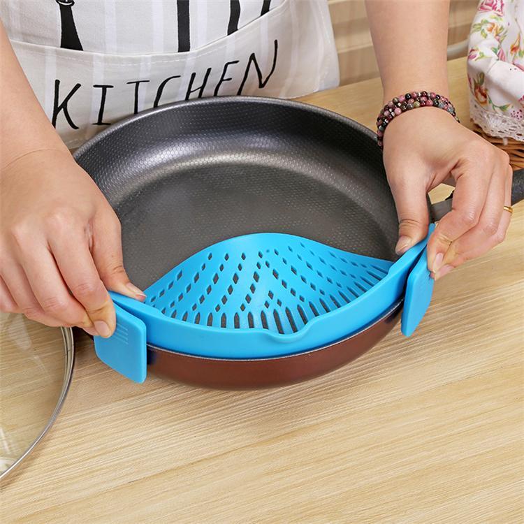 es cocina silicona colador lavado cocina alimentos limpio Clip-On Snap colador líquido separado T2I264