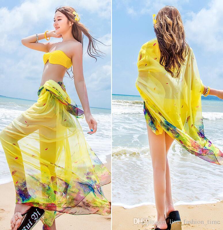 46371e3bf8729 2018 New 140x190cm Scarf Women Beach Sarongs Bikini Cover Up Summer Chiffon  Scarves Shawls Wrap For Swimsuit Women Swimwear Beach Dress US68 Pashmina  Scarf ...