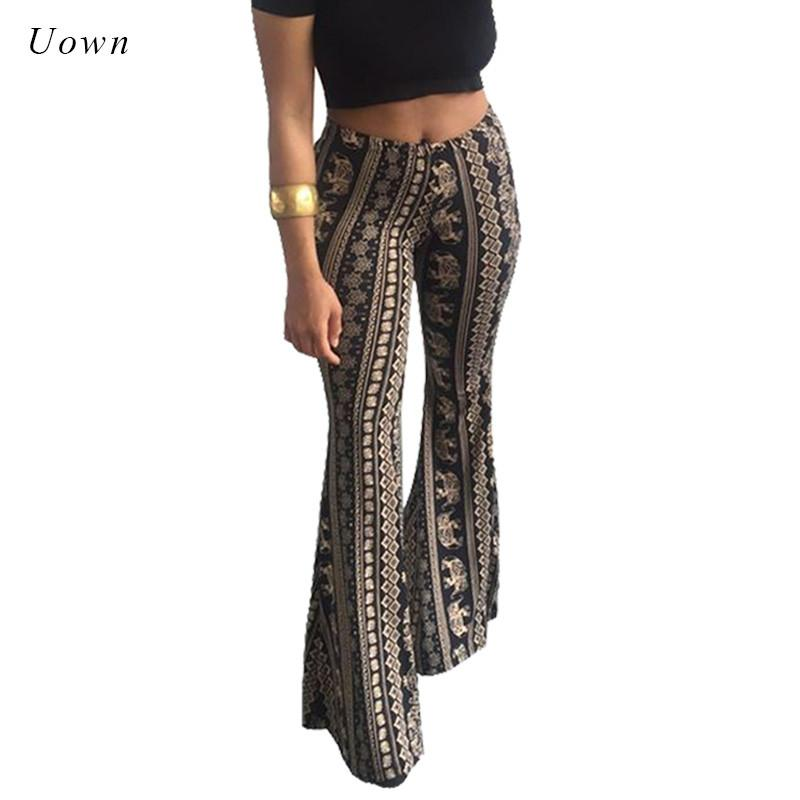 d71e3f0a233 2019 Boho Flare Pants Women Bohemian Fashion Loose Long Pant Tribal African  Print Wide Leg Trousers Bell Bottom Leggings Hippie Pants From Edwiin04