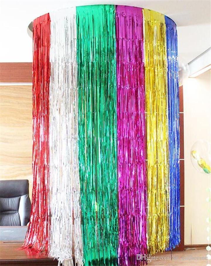 DHL Parlak Püsküller Şerit Perde Renkli Düğün Doğum Günü Partisi Arkaplan Dekorasyon Püsküller Christmas Party Duvar Düzeni Püsküller