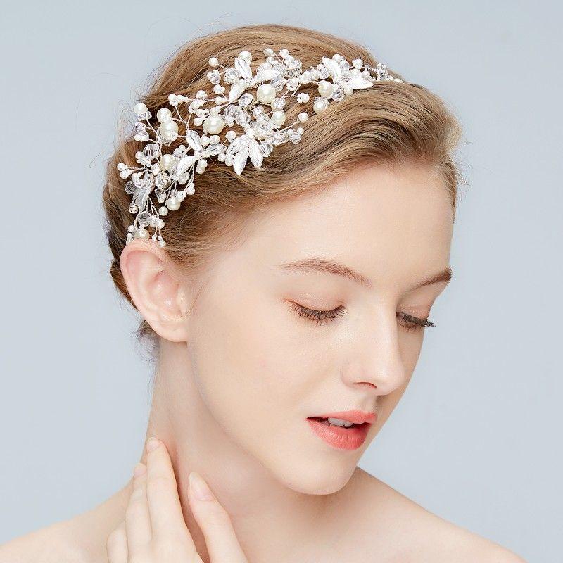 New Silver Leaf Headband Bridal Tiara Pearls Wedding Hair Crown Accessories Fashion Women Prom Hair Piece Handmade Jewelry