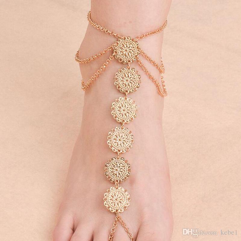Calda estate vintage braccialetto alla caviglia rotondo intaglio fiore monete cavigliere sandali a piedi nudi sandali gioielli piede le donne alla spiaggia