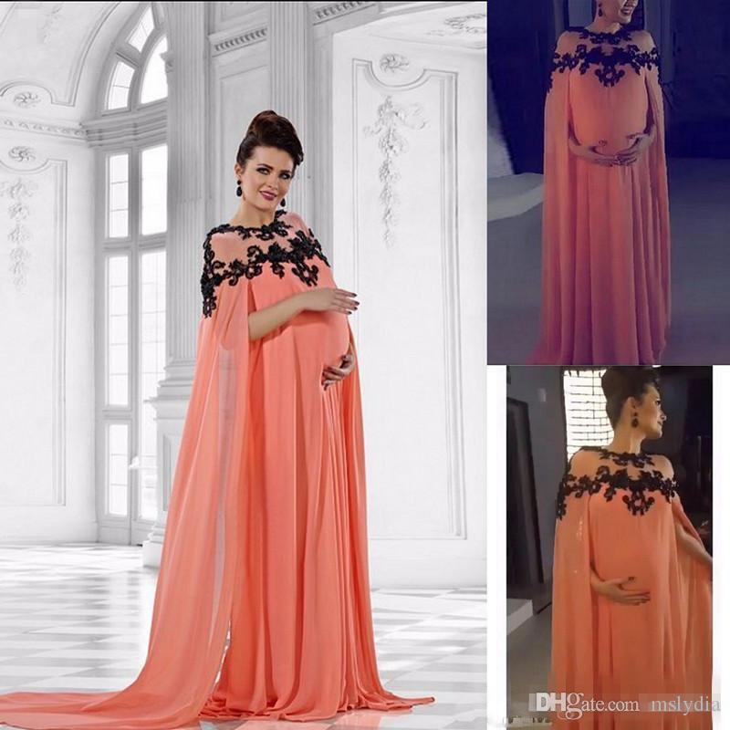 2018 New Middle East Chiffon Evening Dresses For Pregnant Long Cape